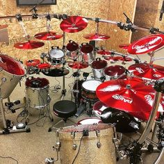 Blood red heads and cymbals belonging to @aquilespriester - The metal is strong with this one. - #drums #drummers #drumming #drumset #drumkit #drumsetup #paiste #rig #monsterkit #drumlife #drummer #drum #metal