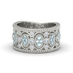 Vintage-inspired 14K White Gold Ring with Diamond & Aquamarine - Renaissance Band | Gemvara