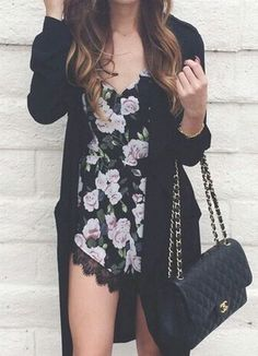 Sleeveless Lace Floral Black Jumpsuit at Romwe - Trendslove