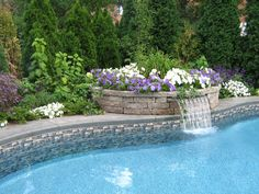 Pool Waterfall Ideas gallery for pool waterfall ideas Raised Planting Area With Waterfall Really Cool Stuff