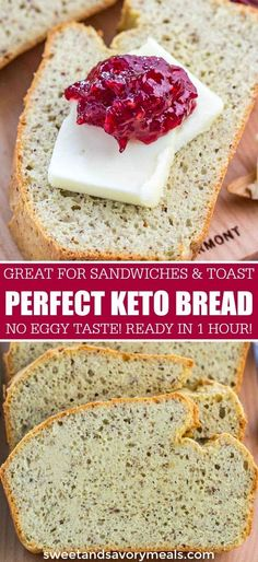 Keto Bread with Coconut Flour is a delicious way for those on a low carb or keto diet to enjoy bread, guilt-free! Keto Bread with Coconut Flour is a delicious way for those on a low carb or keto diet to enjoy bread, guilt-free! 90 Second Keto Bread, Best Keto Bread, Keto Cookies, Low Carb Desserts, Low Carb Recipes, Bread Recipes, Dessert Recipes, Dinner Recipes, Turkey Recipes