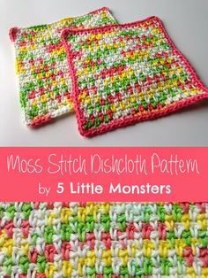 5 Little Monsters: My Favorite Dischloths: Moss Stitch Dishcloth