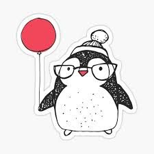 """Cute Baby Penguin Red Heart-Shape Balloon White Winter Hat"""" Sticker by lakeerieartists 