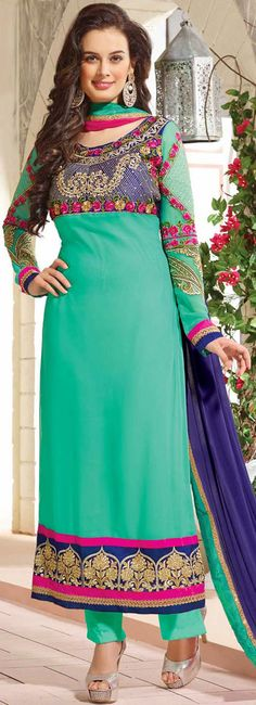 USD 22.14 Teal Green Georgette Embroidery Long Salwar Kameez 41504