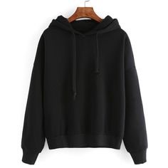 Black Hooded Long Sleeve Crop Sweatshirt (18 PAB) ❤ liked on Polyvore featuring tops, hoodies, sweatshirts, black, jumpers, sweaters, cropped sweatshirts, cropped hoodie, long sleeve sweatshirts and long-sleeve crop tops
