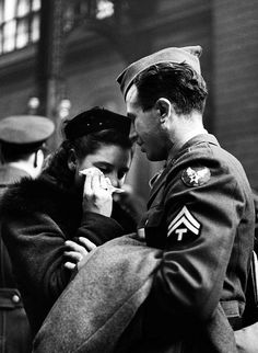 A Soldier's Farewell, Penn Station, woman with handkerchief, 1944.  Photo:Alfred Eisenstaedt
