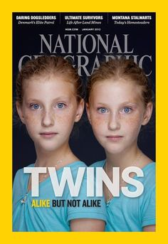 Photos reveal differences between twins--National Geographic magazine spotlighted twins in the January 2012 issue. The portraits, from photographer Martin Schoeller, consider the small differences, even among those with identical DNA. National Geographic Cover, National Geographic Photography, Twin Girls, Twin Sisters, Baby Girls, Martin Schoeller, Multiple Births, Identical Twins, Mirror Image