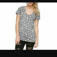 Heart candy vneck  t Gray vneck  shirt with heart valintum  day candy on it Nollie Tops Tees - Short Sleeve