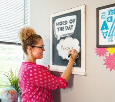 Word of the Day Dry erase vinyl is the perfect way to create reusable wall decor. This project uses images from the Cricut Mondo Fonts and Photobooth Props digital cartridges. xoxo, Anna Rose DIY, school, created with a Cricut