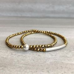 Hematite Bracelet | Gold & Silver Small Bead Stretch Bracelet | Mixed Metal Jewelry | Small Faceted Gemstones