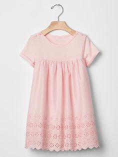 Eyelet mix-fabric dress | Gap