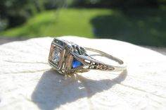 Art Deco Diamond Engagement Ring Fiery Old European by Franziska, $498.00