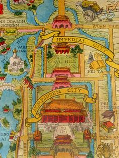 Frank Dorn (after) A Map and History of Peiping Priyang Press, Tietsin-Peiping: 1936 Edition) Type Illustration, Travel Illustration, Illustrations, Old Maps, Antique Maps, North Asia, Illustrated Maps, Map Globe, Historical Maps