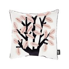 """Square cushion with Arbol design. The leaves are sewn only by the middle, giving a feeling of relief. The collection Back to Nest is designed in warm and soft fabrics. What makes this collection unique is that their fabrics were recovered from old footwear factories. Mix it with other cushions of this collection.  Cover: Pile fabric and polar fleece cover Size: 40x40 cm (15.6x15.6"""") Filling: Polyester Unremovable cover Grey back Designed and crafted in Spain with care by Paparajote Factory."""