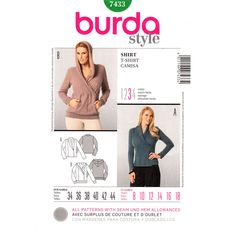 Womens Hoodie Top Pattern Burda 7433 Wrap Bodice Pullover Shawl Collar Size 8 to 18 UNCUT