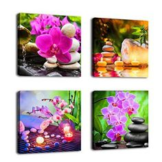Canvas Wall Art Decor SPA Stone Green Bamboo Pink Waterlily and Frangipani Pictures - 4 Panels Update the look of your home with sophisticated, trendy and inspirational wall art.  I absolutely love these pieces of modern wall art especially modern canvas wall art.  You can gain home décor ideas and inspiration by using these canvas prints in your living room, kitchen, bedroom or den.  In fact use these for your hallways and even bathrooms.
