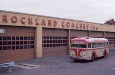 Rockland Coaches Garage Westwood, NJ NY WORLDS FAIR White Motor Co. Pancake 12 cylinder Bus.