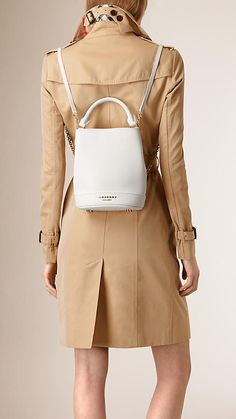 White The Bucket Backpack in Leather - Image 2