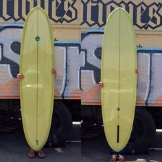 Driftwood Caravan Surfboards 7'6 DCDE with bright green resin tint, gloss and polish