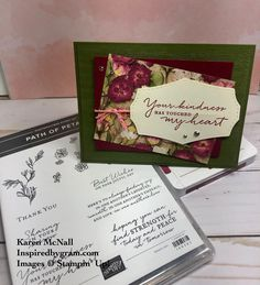 Here is a sweet card design that is super simple that showcases the beautiful Pressed Petals paper.