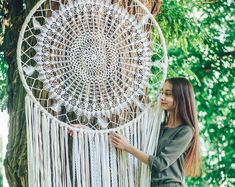 Items similar to Dream catcher wall hanging, navy tapestry, boho dream catcher, mandala wall hanging, dream catcher decor on Etsy Grand Dream Catcher, Dream Catcher Decor, Black Dream Catcher, Small Dream Catcher, Dream Catcher Mandala, Dream Catcher Boho, Dream Catchers, Boho Bedroom Decor, Bohemian Decor