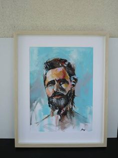 Abstract acrylic portrait man study painting original henryfinearts displayed with Passepartout Portrait, Painting Art, Art Projects, Batman, Etsy Shop, Fictional Characters, Style, Art Paintings, Craft Gifts