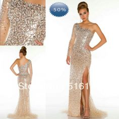 2014 Prom Gown Evening Dresses With See Through Long Single Sleeve Nude Sliver Luxury Sequins Beads High Slit Pageant Sku 851130 US $239.00
