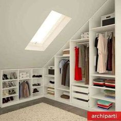 New bathroom closet renovation ideas Attic Bedroom Storage, Attic Master Bedroom, Attic Closet, Attic Bedrooms, Small Room Bedroom, Closet Bedroom, Trendy Bedroom, Bathroom Closet, Bedroom Ideas