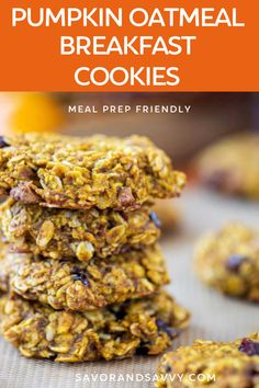 These meal prep friendly pumpkin oatmeal breakfast cookies are so easy to make and so yummy to eat. Included are freezer instructions will turn these into the perfect grab and go breakfast on busy mornings.  #breakfast #pumpkinoatmealcookies #breakfastcookies #pumpkin #onthegobreakfast