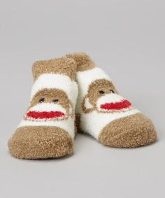Take a look at this Brown & White Sock Monkey Booties by Sock Monkey on #zulily today!