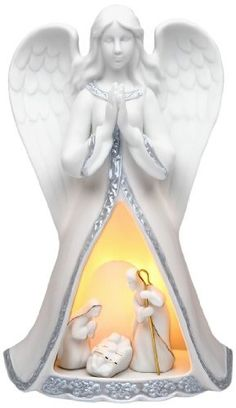 Appletree Design Lighted Praying Angel with Holy Family Nativity