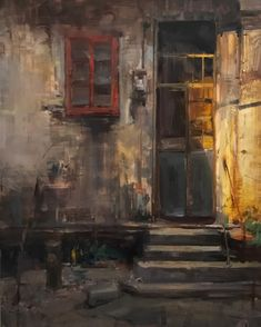 """A Textured Life 24""""x18"""" here is the final version. I've enjoyed studying this incredible historic town in Southern China. #chikan #china #instaartist #instaart #fineart #artfido #art_help #artisan #fineart #old #door"""