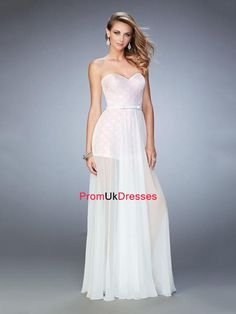 A-line Sweetheart Neckline and Bow Waistband Long Chiffon Prom Dress PD12221
