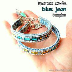 Repurposed Blue Jean Cuffs Bangles