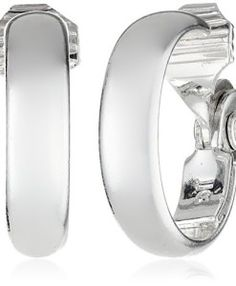 Anne Klein Classics Silver-Tone Medium Hoop Clip-On Earrings: Classic silver-tone hoop earrings in polished finish with clip-on backings Imported Cross Earrings, Cuff Earrings, Clip On Earrings, Anne Klein, Gatsby Accessories, Women Jewelry, Fashion Jewelry, Cubic Zirconia Earrings, Cartilage Earrings