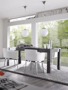 Table de salle manger design laqu blanc carla table for Table salle a manger contemporaine