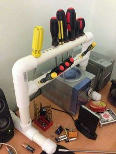pvc pipe ideas for kids ; pvc pipe ideas for garden ; pvc pipe ideas for garage ; Workshop Organization, Garage Organization, Garage Storage, Tool Storage, Storage Ideas, Pvc Pipe Storage, Pipe Shelves, Storage Room, Storage Shelves