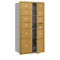 4C Horizontal Mailbox - Maximum Height Unit (56 3/4 Inches) - Double Column - 7 MB2 Doors / 2 MB3 Doors / 2 PL's - Gold - Front Loading - USPS Access by Salsbury Industries. $1026.78