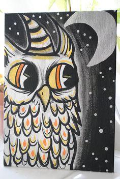 Original Art  Halloween Hoot  Acrylic Owl Painting by Corvid337, $20.00