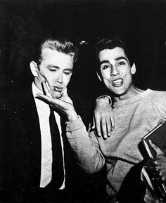 James Dean and Perry Lopez on the set of Rebel Without a Cause.