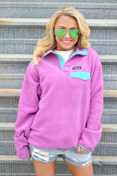Patagonia Women's Lightweight Synchilla Snap-T Pullover- Mock Purple
