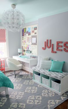 Like the bench cushion (maybe end of bed storage), window treatment, JULES sign // Jules' Fresh Mint & Coral Tween Room Professional Project Teen Girl Rooms, Teenage Girl Bedrooms, Bedroom Girls, Kid Bedrooms, Preteen Bedroom, Gray Bedroom, Master Bedrooms, Girl Nursery, Girl Bedroom Designs