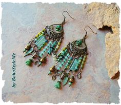 Boho Nature Inspired Assemblage Earrings, Unique Blue Green Leaf Jewelry, Mixed Media Jewelry, BohoStyleMe, Kaye Kraus by BohoStyleMe on Etsy