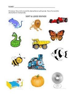 math worksheet : english worksheet soft and loud sound  kindergarten science  : Soft Math Worksheets