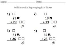 Addition with Regrouping Exit Ticket