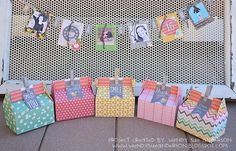 birthday party banner and favor boxes | pebbles - Two Peas in a Bucket
