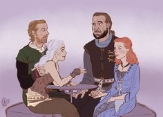 "D'aw, double date!  Sh-shut up — it could happen :'c  Dany is like, ""i feel ya babe, sex with older men is even better than fermented mare's milk""  And Sansa is like … what do I even say to that—  And Jorah is like, why do we persist in seeing these two, neither of them ever bloody talk  And Sandor is like … she glanced this way, I thought I saw, and when we touched she didn't shudder at my paw~"
