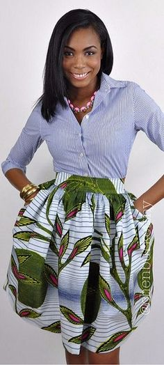 "African Print Skirt - The Calla Lili Skirt. The Calla Lilly skirt features a bold beautiful print made from 100% Dutch Wax. A comfortable 2.5"" waist band sitting at your natural waist. Side seam pockets. African fashion, Ankara, kitenge, African women dresses, African prints, African men's fashion, Nigerian style, Ghanaian fashion, fashion blogger (affiliate)"