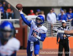 Boise State's Joe Southwick throws during the spring game Saturday April 14, 2012. CHRIS BUTLER