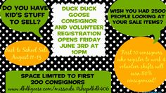 Registration for the Back to School Sale opens Friday June 3rd! First 10 consignors who register for 4 or more volunteer shifts receive 80% consignment!